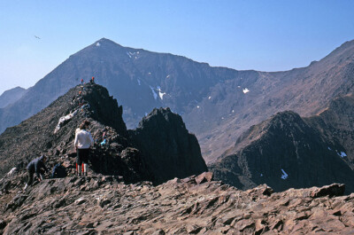 Crib Goch with Snowdon beyond